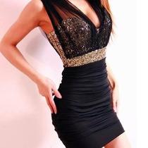 Vestido Tubinho Com Tule E Paetê Luxo