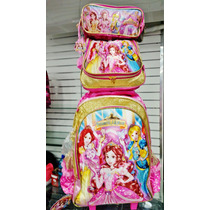 Kit Mochila Escolar Infantil Feminina Princesas Magicas