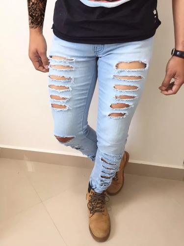b638942a50 Calça Jeans Masculina Destroyed Rasgada Moda Customizada. R  89.99