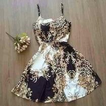 Vestido Boneca Princesa Rodado Estampa Oriental Suplex Festa