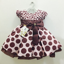 Vestido De Festa Infantil Marrom E Rosa Com Tiara