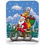 Natal Papai Noel Em Um Vidro Da Motocicleta Tábua Grande Ap