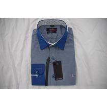 Camisa Social Masculina Aramis , Cor Azul Azul Claro
