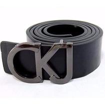 Cinto Calvin Klein Ck Masculino Em Couro Fivela De Letras