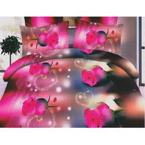 Jogo De Cama Lençol Em 3d 2 Fronha Capa Edredom Rosas Folhas