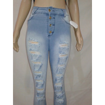 Calça Jeans Cintura Alta, Hot Pants, Rasgada, Com Lycra,