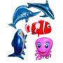 Balão Metalizado Golfinho Tubarão Nemo Espada Fundo Do Mar
