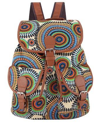 f53c04a7b7186 Mochila Feminina Fashion Círculos Étnicos