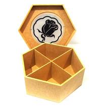 Caixa Em Mdf E Vidro Porta Objetos C/ Vidro 4 Compartimentos
