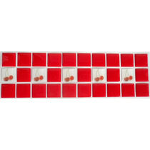 Pastilhas Adesivas Resinadas - Cor Vermelha Ou Aço Decorada