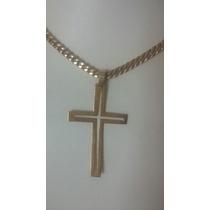 Cordão E Cruz Com 26 Gramas De Ouro 18k 750.