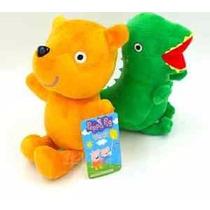 Kit 2 Pelúcias Dinossauro Urso Da Peppa Pig E George