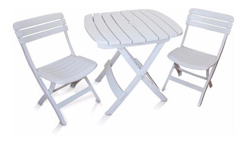 Conjunto Jogo Mesa E 2 Cadeiras Jadim Branco Dobrável
