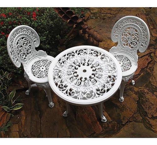 Conjunto De Mesa De Plástico Redonda 70cm E 2 Cadeiras Co...