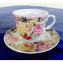 Kit Com 2 Xícaras E 2 Pires Florais De Porcelana Chinesa