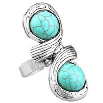 Anel Ajustável Feminino Infinito Pedras Azul Prata 925 M963