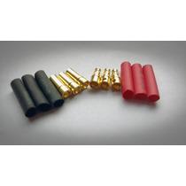 Plug Conector 3,5mm (gold Bullet) 3 Pares Com Termo Retratil