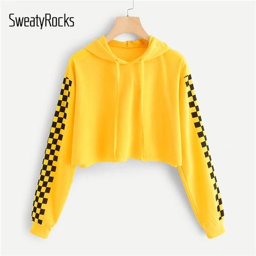 c624a77e53 Blusa Moletom Cropped Amarelo Xadrez Moda Feminina Com Capuz