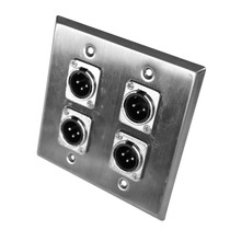 Placa De Parede De Aço Inoxidável - 2 Filas - 4 Conectores