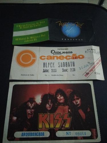 3 Ingresso Kiss,rock In Rio E Black Sabbath