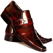 Sapato Social Masculino Em Couro Verniz Estilo Italiano Luxo
