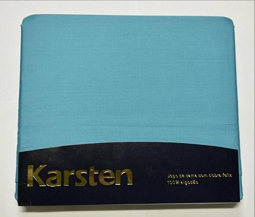 Jogo De Cama Karsten 300 Fios Sortido Azul - King 290 X 270