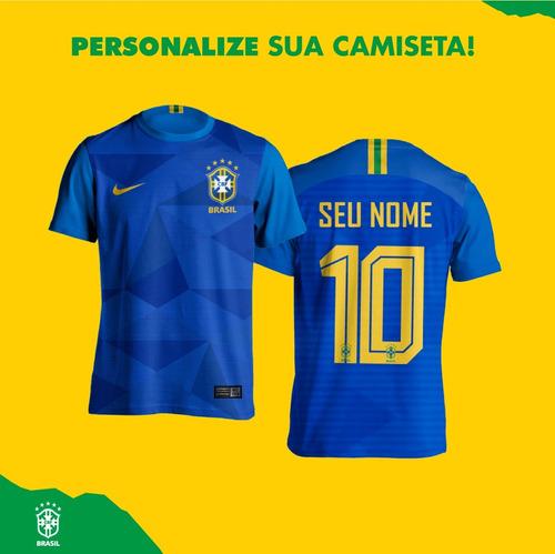 e6ad4e2c76 Camisa Azul Seleção Brasileira Personalizada Frete Gratis