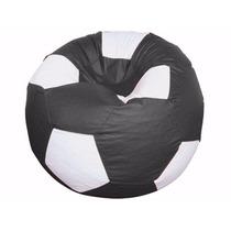 Puff Pufe Bola Futebol 80cm Diâmetro Courino Sala Preto