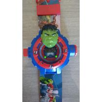 Relógio Infantil Com Personagem Marvel Com Projetor De Luz
