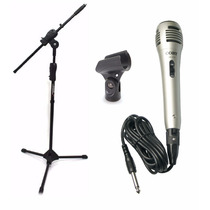 Kit Microfone + Pedestal Com Cachimbo + Cabo Em Oferta