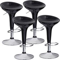 4 Banquetas Preta Giratória Encosto Cozinha Bar Abs 42200x4