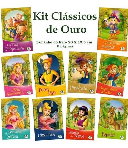 Kit Livro Infantil - Clássicos De Ouro - 10 Und