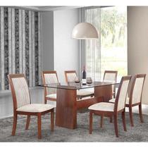 Conjunto Sala De Jantar -mesa Tampo De Vidro E 6 Cadeiras