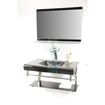 Gabinete De Vidro 80 Cm Banheiro Preto