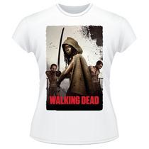 Baby Look The Walking Dead Amc Michonne Camiseta Feminina