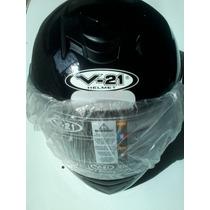 Capacete V21 Helmet Preto Brilhante Tamanho 62