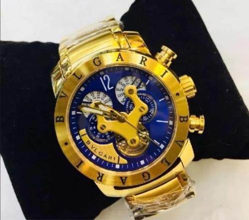 Relógio Bvlgari Iron Man Venon Skeleton Dourado Prata Preto c9e43b2e73