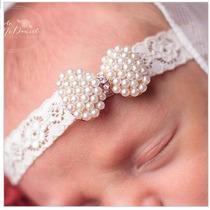 Faixa Laço Renda Cabelo Princesa Foto Bebe Menina Perolas!