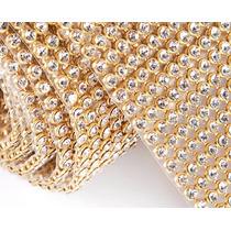 Manta Strass Cristal Alto Brilho 10x45cm Dourada