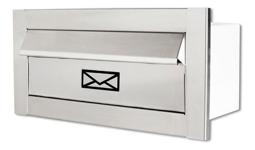 Caixa De Correio Frente Inox Escovado Carta 30 Cm Profundida