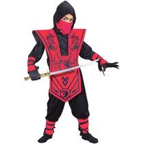 Fantasia Ninja Infantil Vermelho Completo