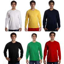 Kit 10 Camisetas Manga Longa Básica Lisa Sem Estampa Camisa