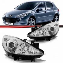 Farol Peugeot 307 07 08 09 10 11 12 Máscara Cromada