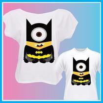 Kit Blusa, Camiseta Tal Mãe Tal Filho Minions Batman, Heróis