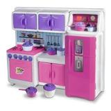 Cozinha Cristal Rosa Infantil Geladeira Fogao Completa 45cm