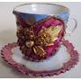Xícara Café Isabelina Azul Flor Dourada Relevo Pires Dentado