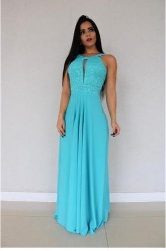 d9fd2fb9c Vestido Festa Madrinha Casamento Formatura Azul Tiffany à venda em ...