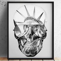 Quadro Art Impressa Caveira Skull Liberdade Photo Mate 40x60