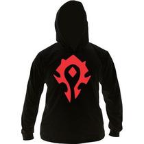Camiseta Horda World Of Warcraft Manga Longa Com Capuz