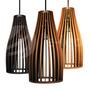 Conjunto 3 Lustres Luminarias Pendentes De Madeira 30x15cm